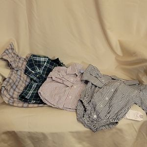 4 Baby Button up Dress Shirts and Onsie